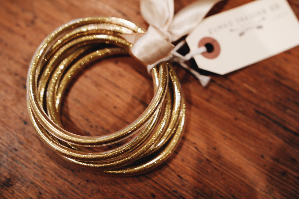 the gold bangle set