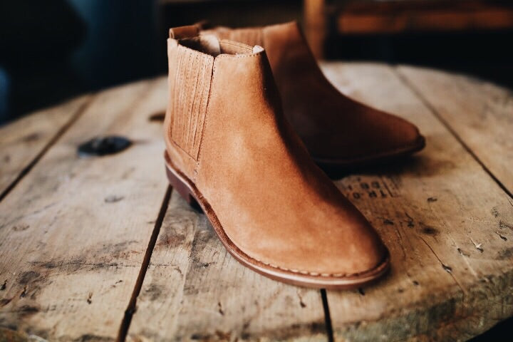 The Pool Bootie // Tan Suede
