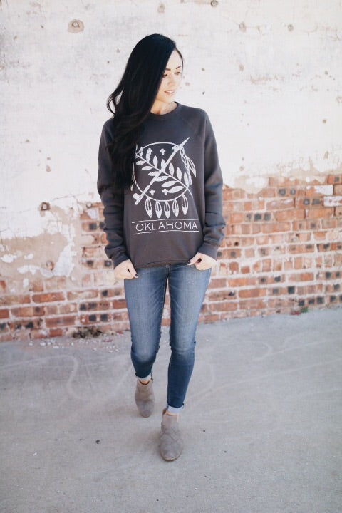 The Oklahoma Shield Sweatshirt // Adult Charcoal