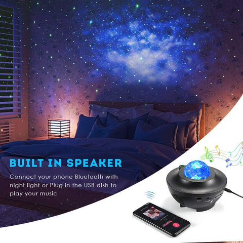 USB Chargeable HD Star Projector Night Lamp With Bluetooth Speakers