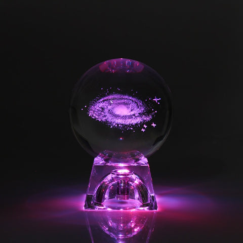 3D Engraved Milky Way Galaxy Crystal Table Lamp with Luminous