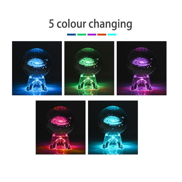 3D Engraved Solar System Crystal Table Lamp with Luminous Base