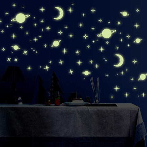 Starry Sky Fluorescent Wall Sticker Stars Moon & Planet Home Decor - DIY Decals