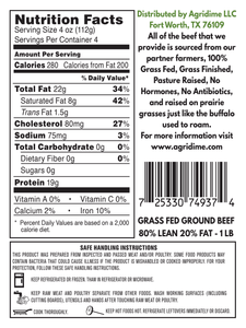 Grass Fed 80% Lean/20% Fat Ground Beef, 1 lb