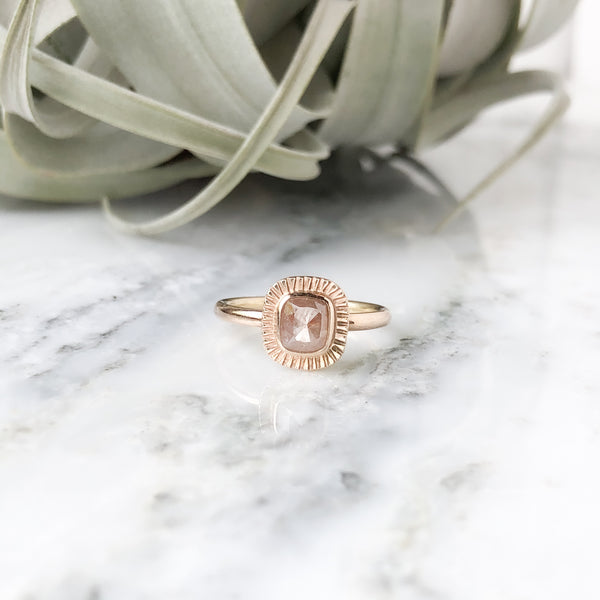 Rosecut Peach Diamond Ring in 14K Yellow Gold