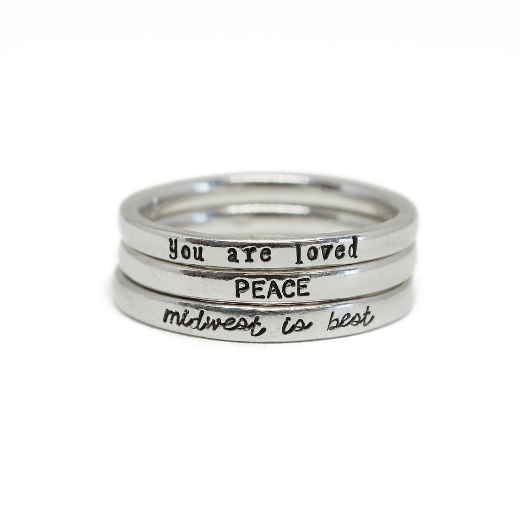 Personalized Tiny Message Ring in Sterling Silver