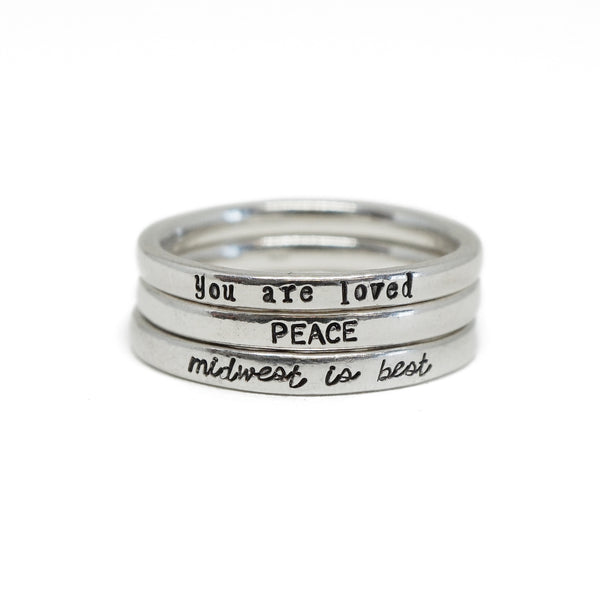 CUSTOM Tiny Message Ring in Sterling Silver