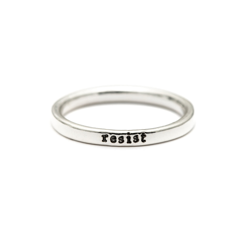 Resist - Tiny Message Ring in Sterling Silver
