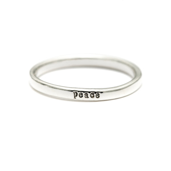Peace - Tiny Message Ring in Sterling Silver
