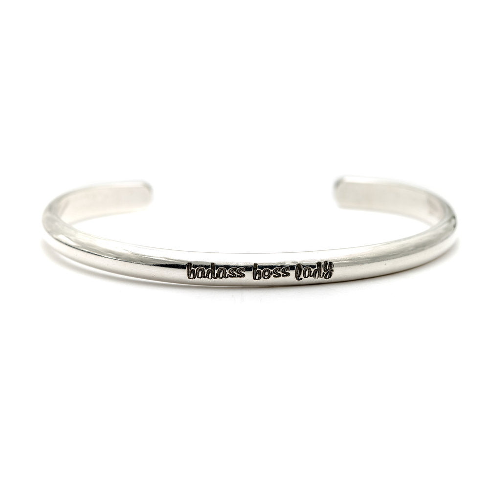 Personalized Message Cuff Bracelet in Sterling Silver