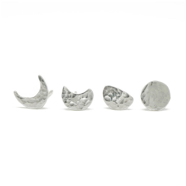 Moon Phase Stud Earring Set in Sterling Silver