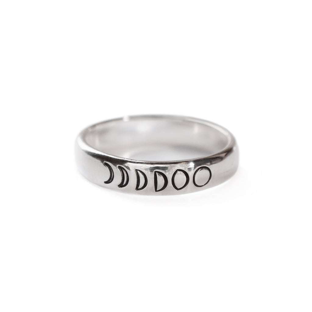 Moon Phases Ring in Sterling Silver