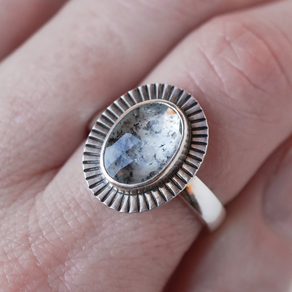 Moss Aquamarine Ring in Sterling Silver