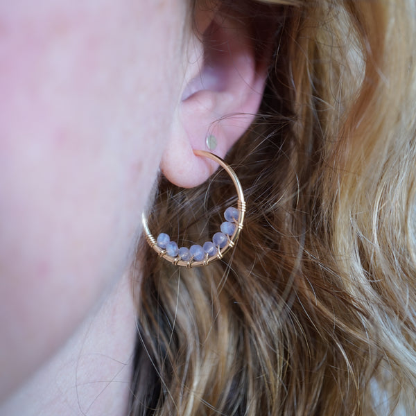 Lavender Chalcedony Hoop Earrings in Gold-Filled