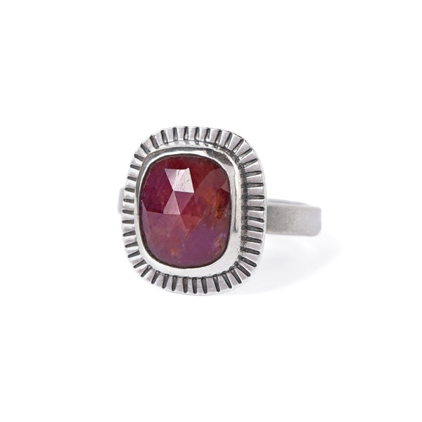 Ruby Sapphire Ring in Sterling Silver
