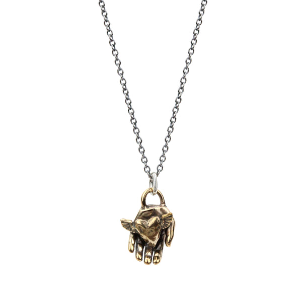 Winged Heart in Hand Necklace in Bronze