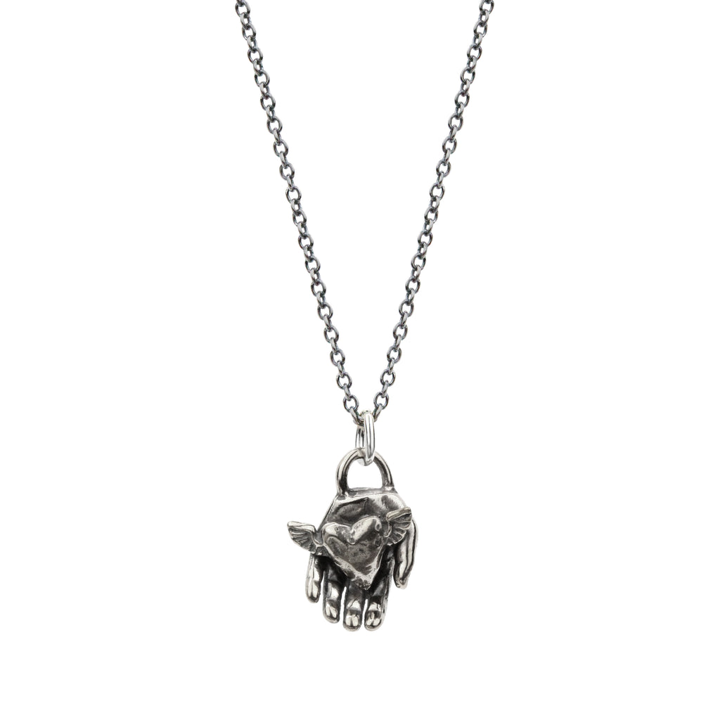 Winged Heart in Hand Necklace in Sterling Silver
