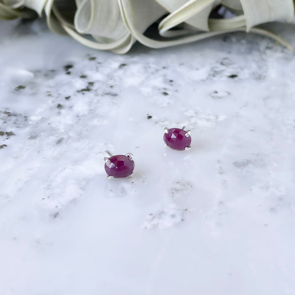 Ruby Post Earrings in Sterling