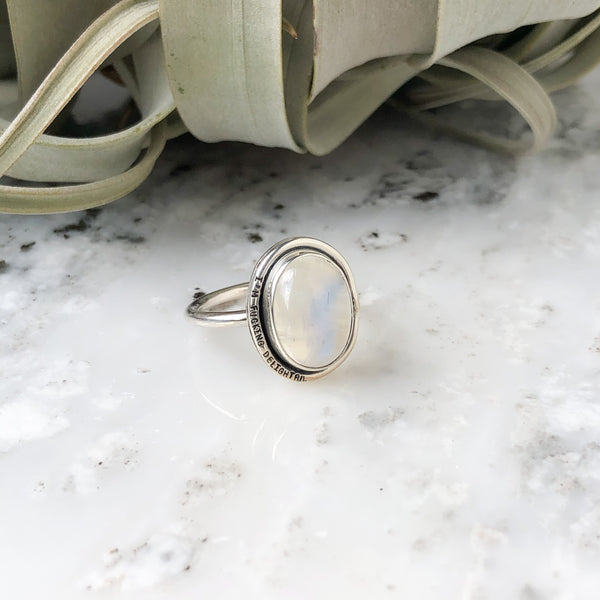 "Rainbow Moonstone Ring in Sterling Silver Size 7 with ""i'm fucking delightful"""