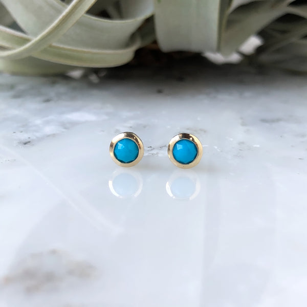 Faceted Turquoise Post Earrings in 14K Gold & Sterling