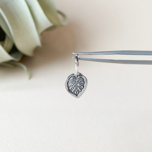 Monstera Leaf Pendant Charm in Sterling Silver
