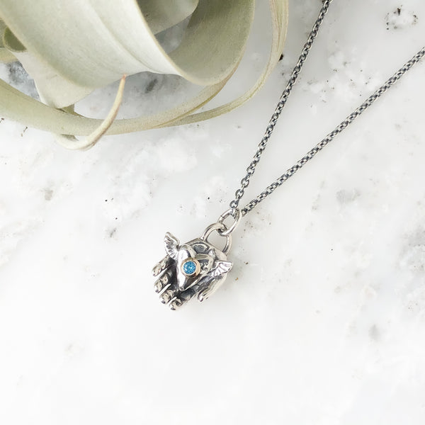 London Blue Topaz Winged Heart in Hand Necklace in Sterling Silver & 14K Gold