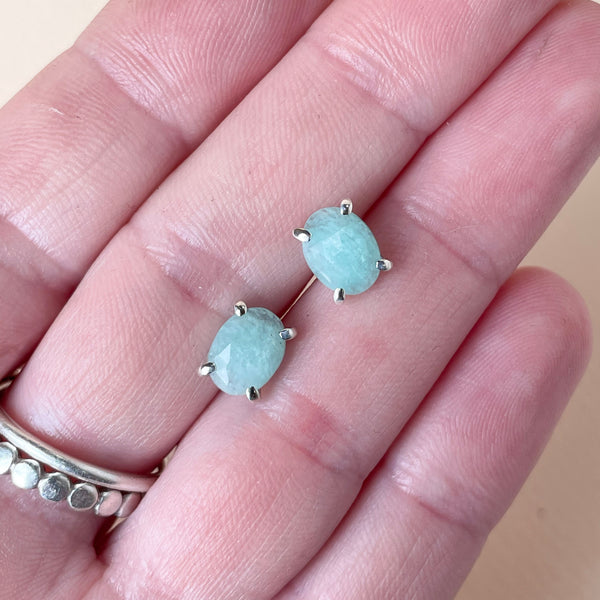 Amazonite Post Earrings in Sterling