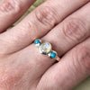 Rainbow Moonstone & Turquoise in Sterling Silver Size 8