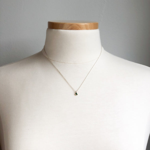 Teeny Tiny Natural Emerald Necklace in 14K Gold & Sterling
