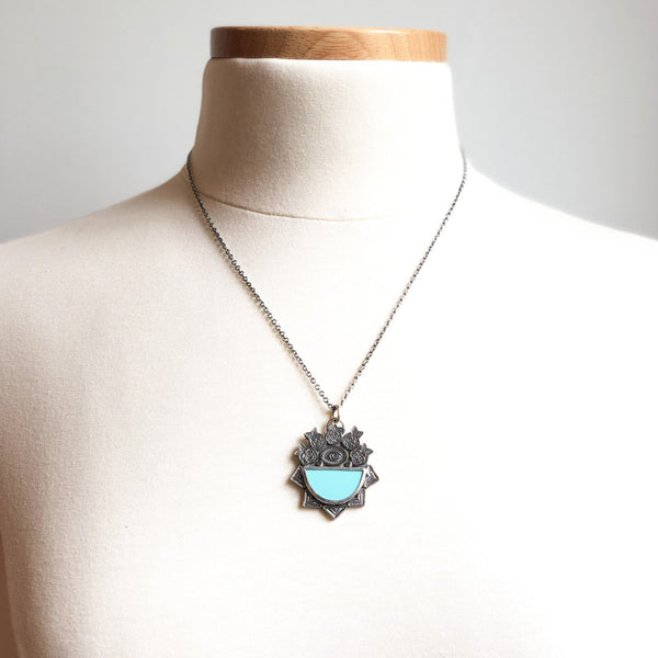Sleeping Beauty Turquoise Eye of Protection Necklace in Sterling Silver