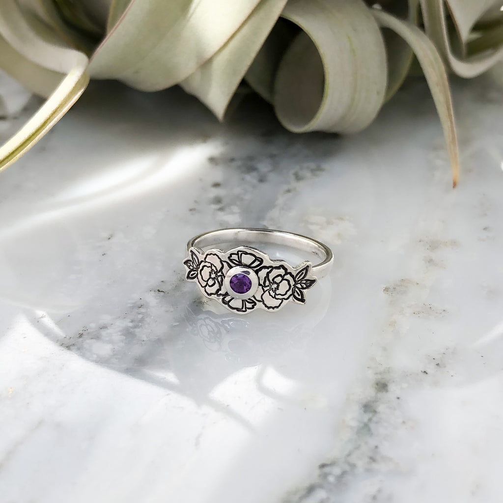 Floral Wreath with Amethyst Ring in Sizes 7, 8 & 9