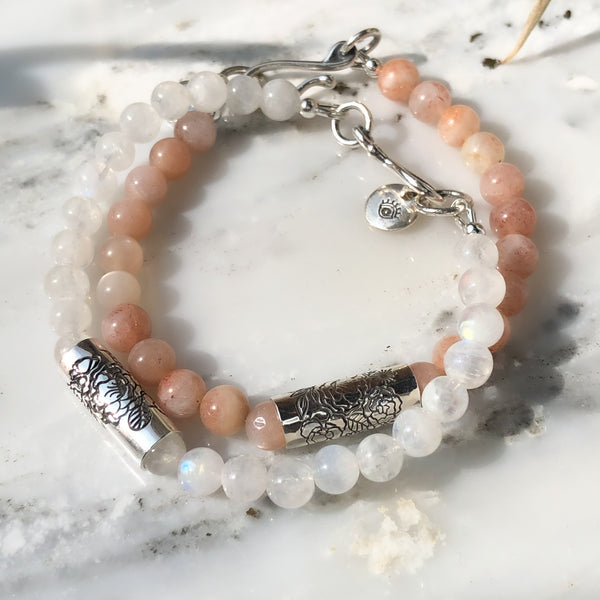 Boutique Peach Moonstone Bracelet in Sterling Silver