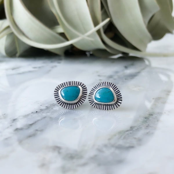 Turquoise Ray Post Earrings in Sterling Silver