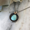 Turquoise with Succulent Accent Necklace in 14k Gold & Sterling Silver