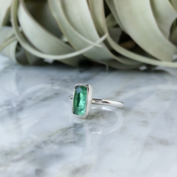 Faceted Green Tourmaline Ring in Sterling Silver - Size 7