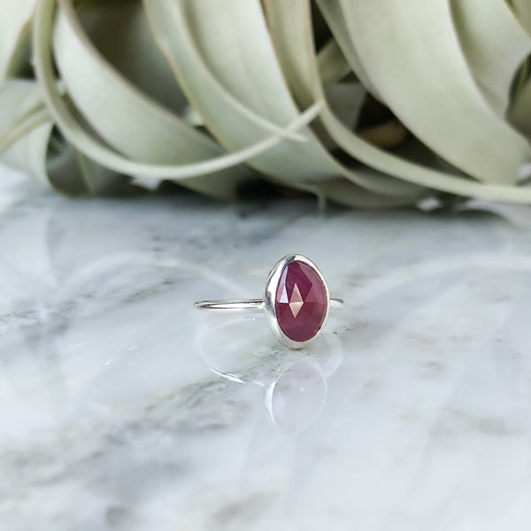 Faceted Pink Sapphire Ring in Sterling Silver - Size 6