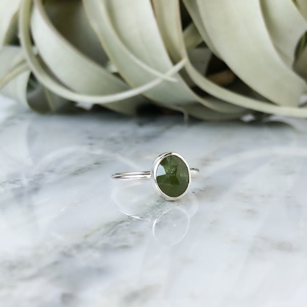 Faceted Vesuvianite Ring in Sterling Silver - Size 6.5