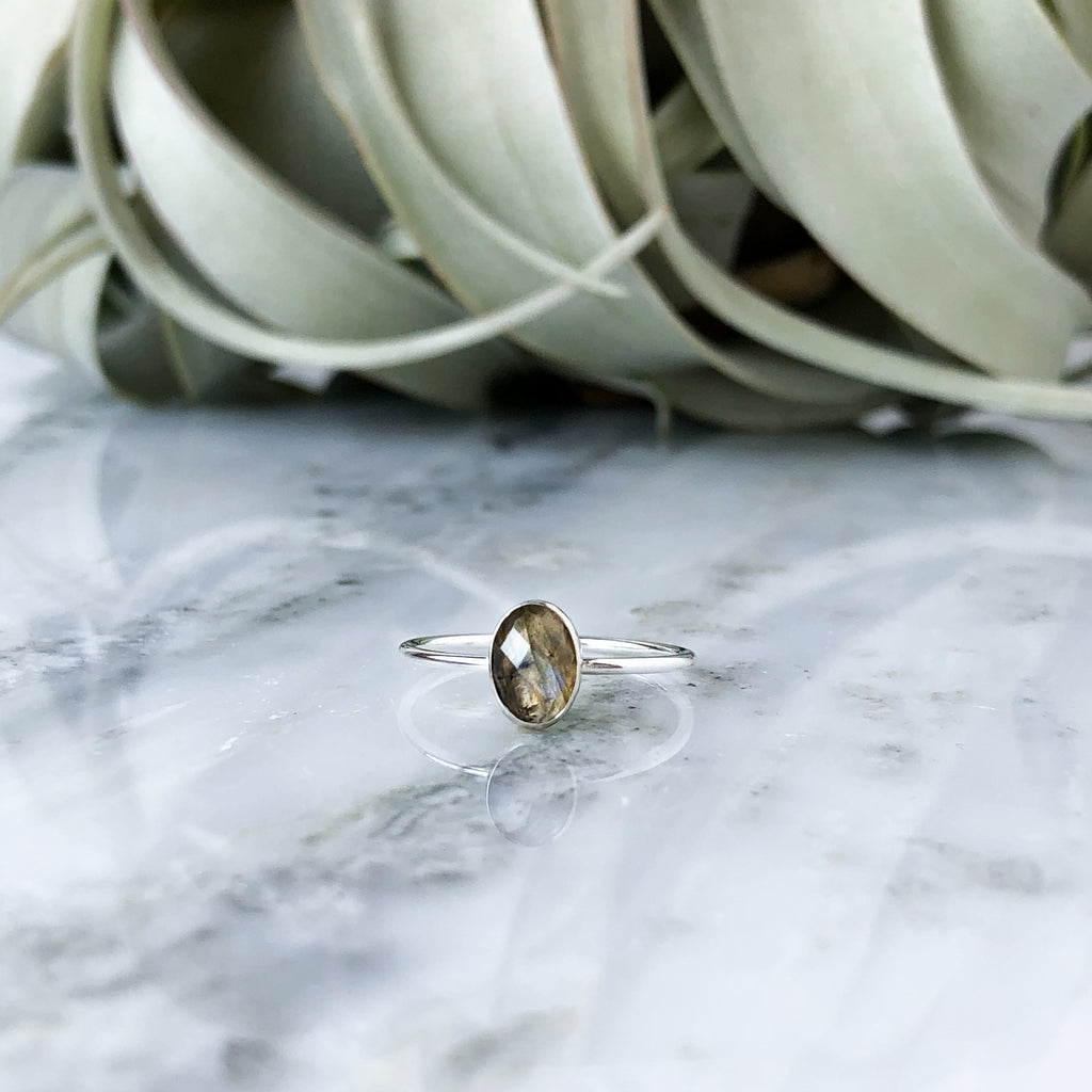 Faceted Oval Labradorite Ring in Sterling Silver - Sizes 6, 7, 8 & 8.5