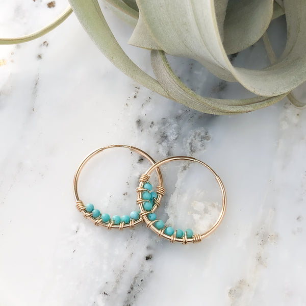 Turquoise Hoop Earrings in Gold-Filled
