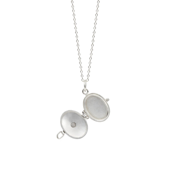 Oval Locket with Labradorite in Sterling & 14K Gold Necklace