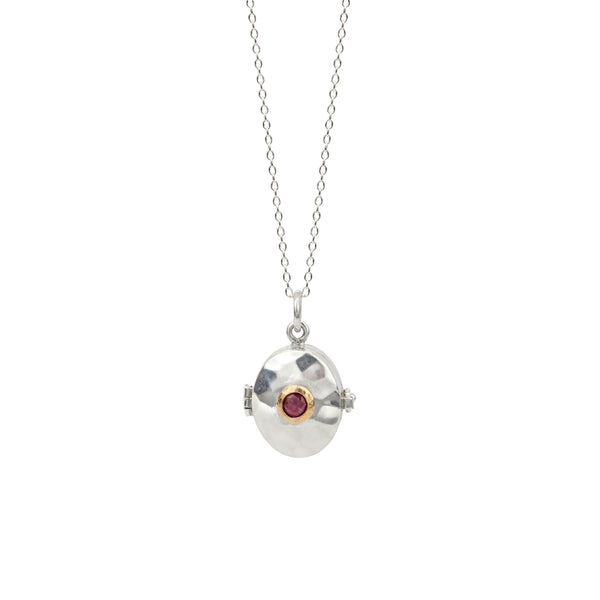 Oval Locket with Ruby in Sterling & 14K Gold Necklace