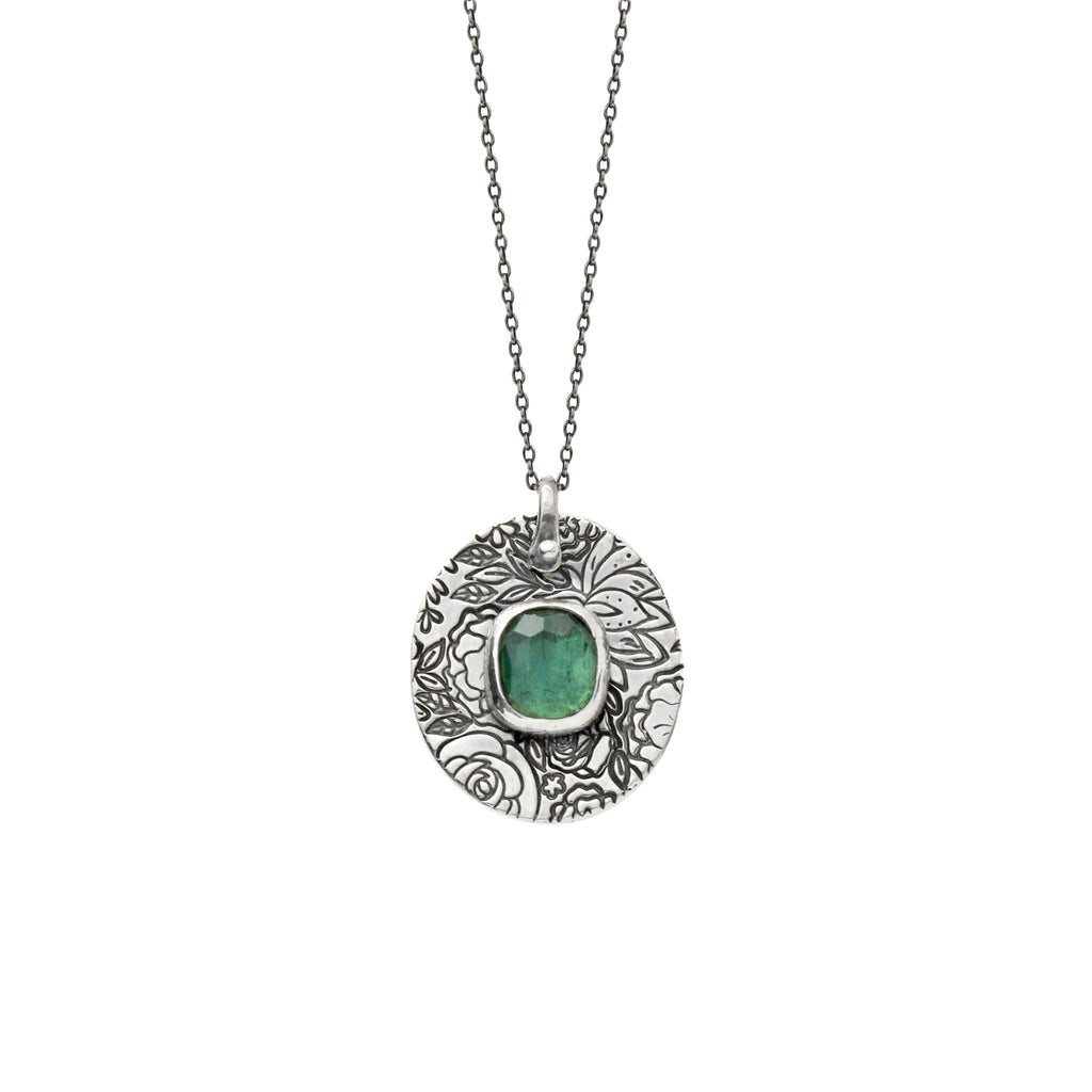 Green Tourmaline Boutique Necklace in Sterling Silver