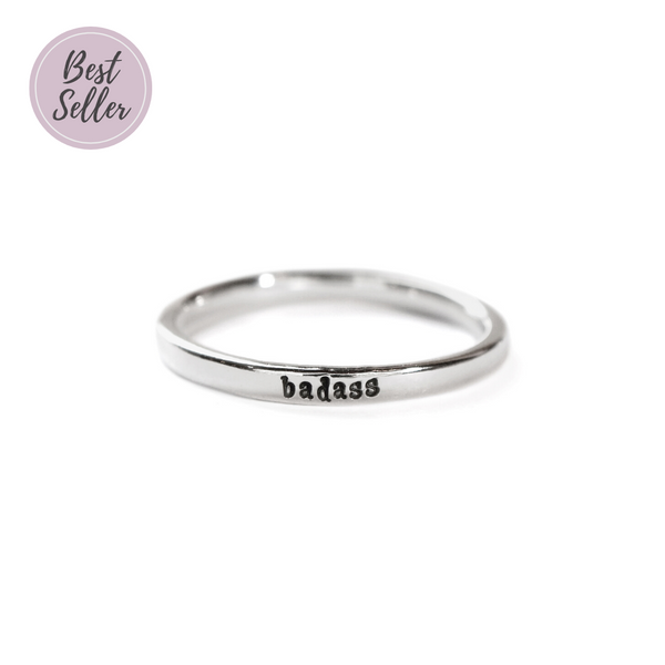 Badass - Tiny Message Ring in Sterling Silver