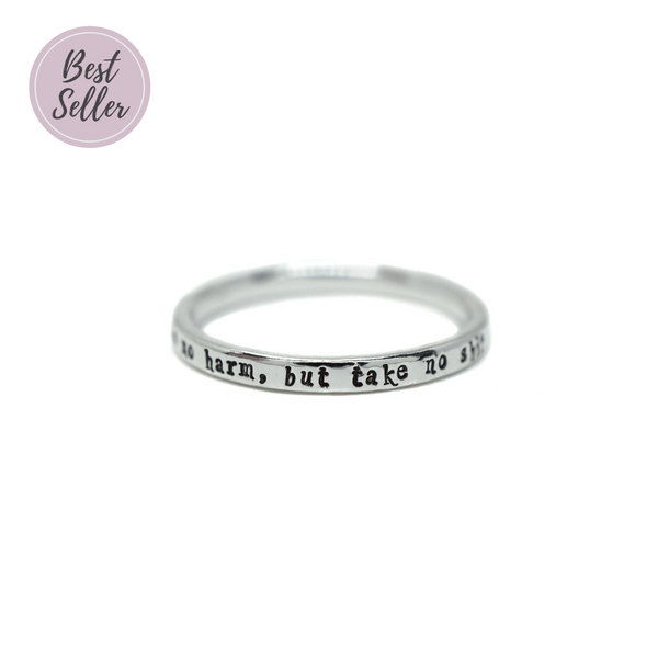 Do No Harm, But Take No Shit - Tiny Message Ring in Sterling Silver