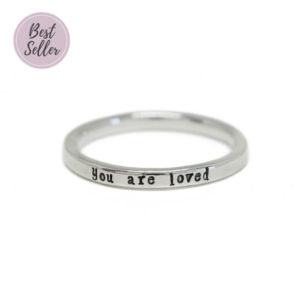 You Are Loved - Tiny Message Ring in Sterling Silver