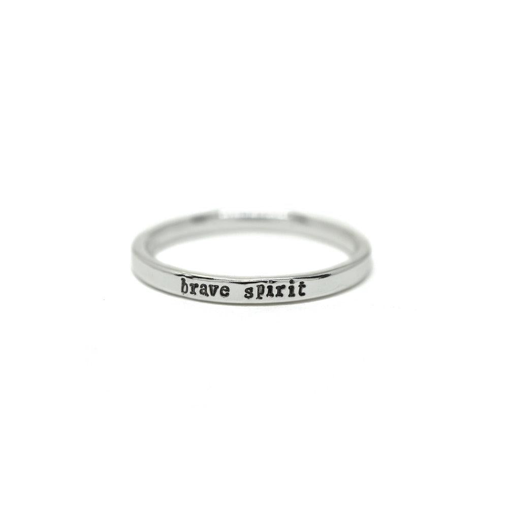 Brave Spirit - Tiny Message Ring in Sterling Silver