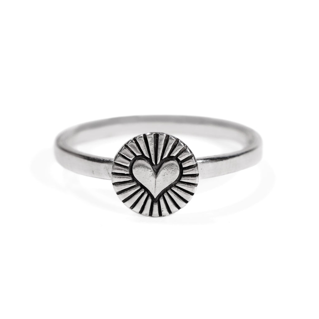 Heart Burst Ring in Sterling Silver