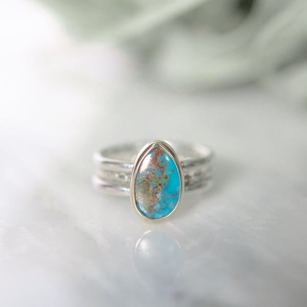 Chrysocolla Ring in Sterling Silver & 14K Gold