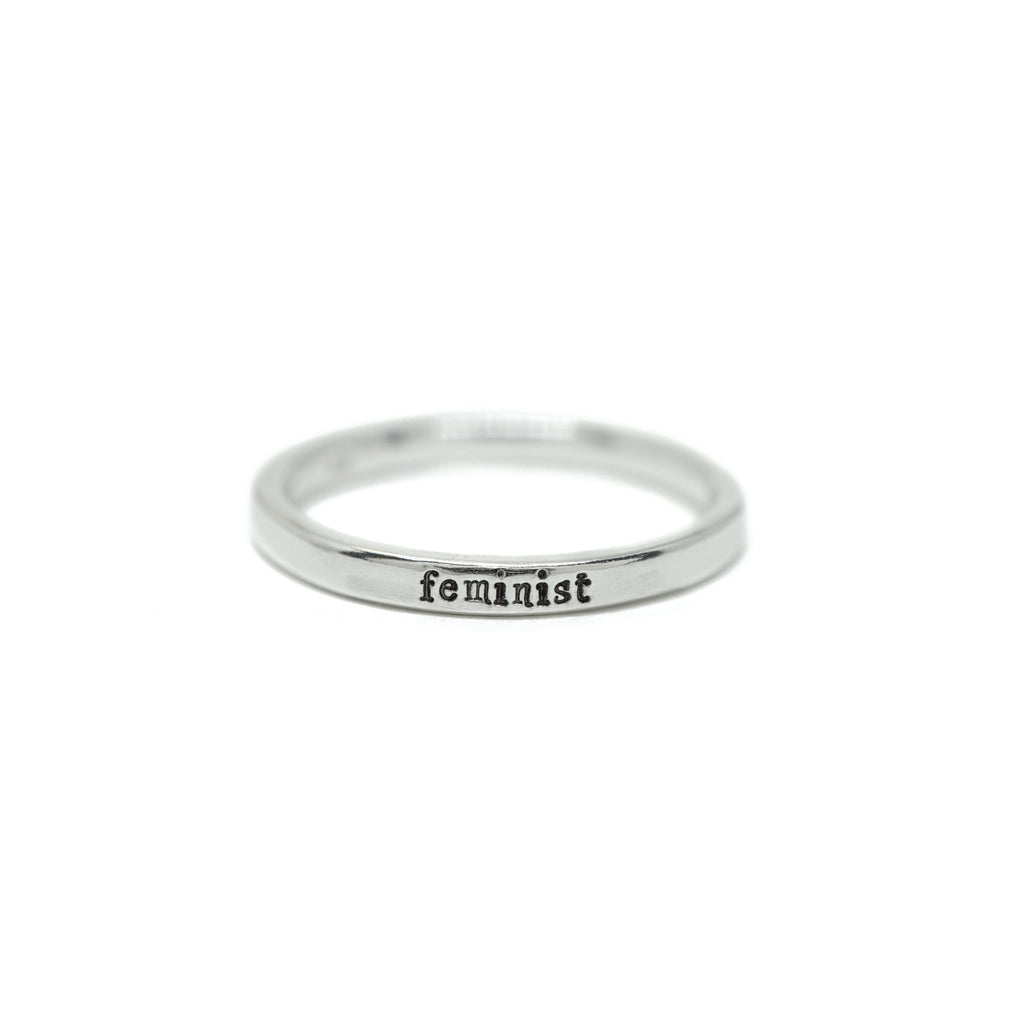Feminist - Tiny Message Ring in Sterling Silver