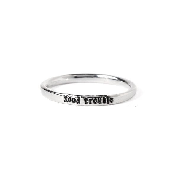 Good Trouble - Tiny Message Ring in Sterling Silver